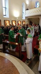 Uvodna molitva, pohod nadbiskupa župi Zamet, 31.01.2016